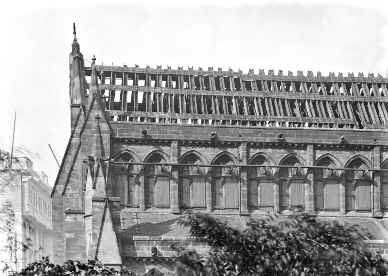 View of rafters on Nave roof from N, Glasgow Cathedral.