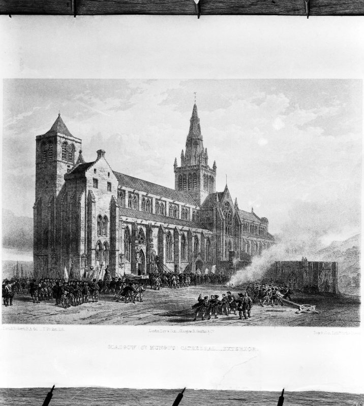 View of etching of Glasgow Cathedral showing view of South front from SW.
