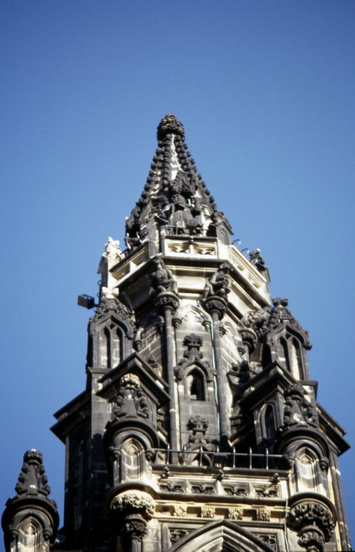 View of statue of Mause Headrigg, on the fourth gallery (top of Scott Monument), S side. Supporting the fourth gallery are druids.