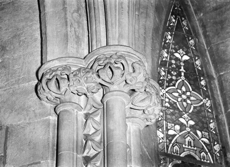 Interior. View of foliage carved on capital, Upper Church.