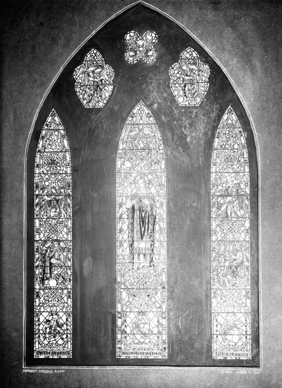 Interior. View of stained glass window design.