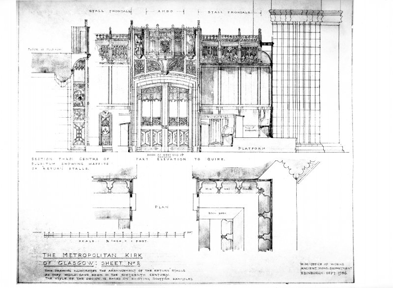 Interior. View of plan and elevation to show how the return stalls would have been in the 16th century.