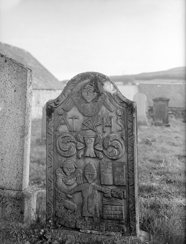View of gravestone.