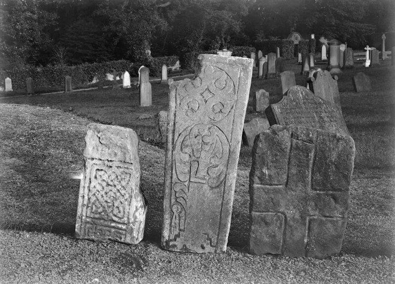 View of sculpted stones, Abercorn Churchyard.