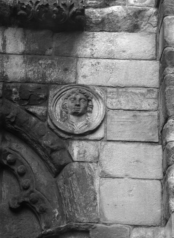 Detail of roundel on West front of Holyrood Abbey