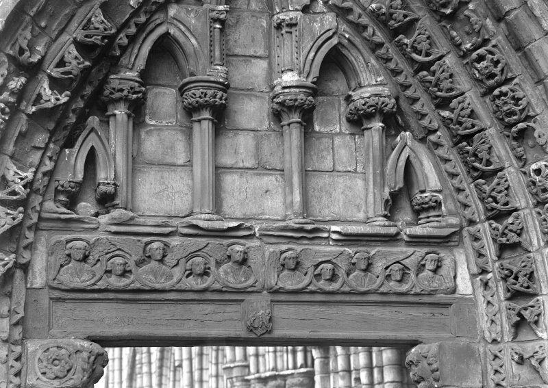 Detail of blind arches on West entrance front of Holyrood Abbey