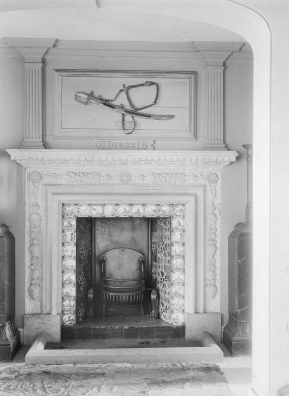 Interior. Detail of hall fireplace.