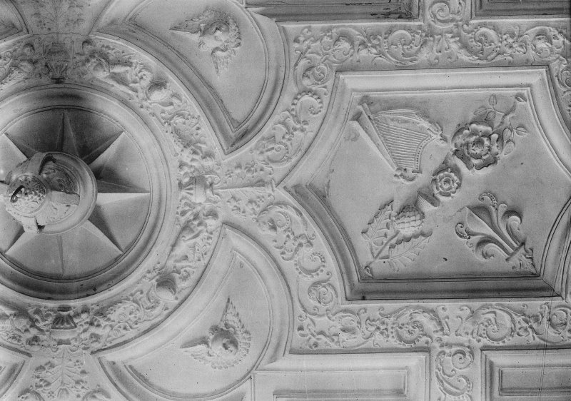 Interior. Detail of King's Room ceiling.