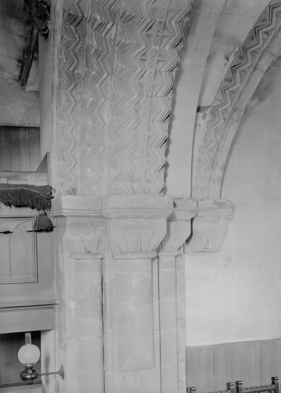 Dalmeny Parish Church, interior Detail of North jamb of chancel arch