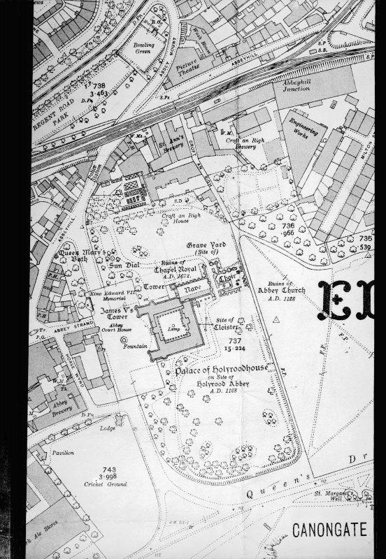 Photographic copy of part of plan showing layout of Holyrood Palace and grounds
