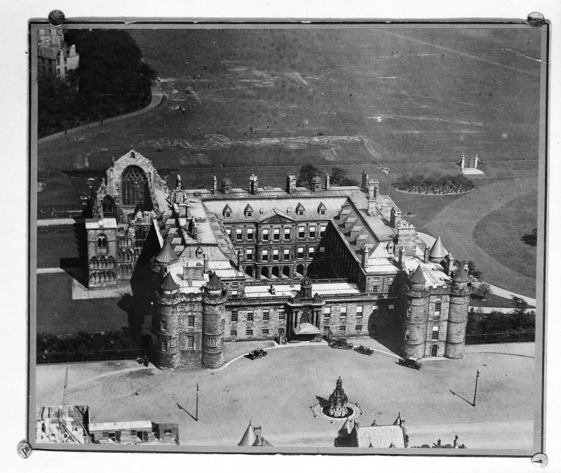 Aerial view of Holyrood Palace and Abbey.