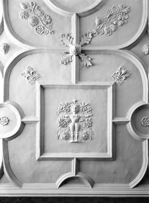 Interior-detail of plaster ceiling in Parlour, Croft an Righ House, Edinburgh.