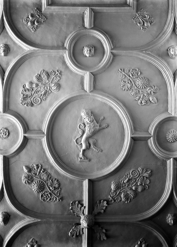 Interior-detail of plaster ceiling in Parlour