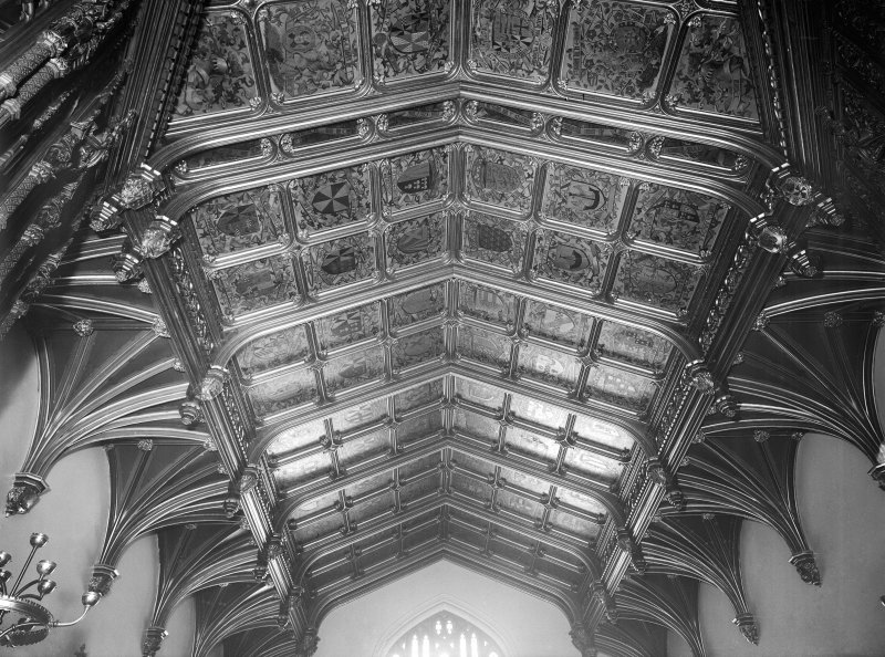 Taymouth Castle, interior. View of ceiling in Banner Hall.