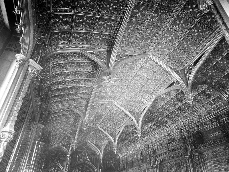 Taymouth Castle, interior. View of ceiling of library.