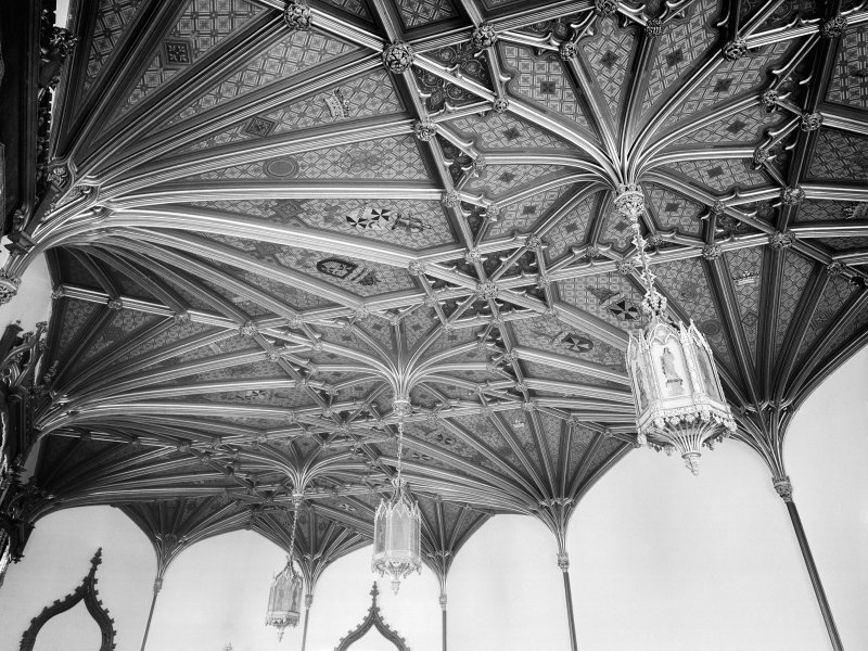 Taymouth Castle, interior. View of ceiling of Baron's dining room.