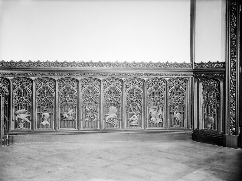 Taymouth Castle, interior. View of carved panels in Baron's dining room.