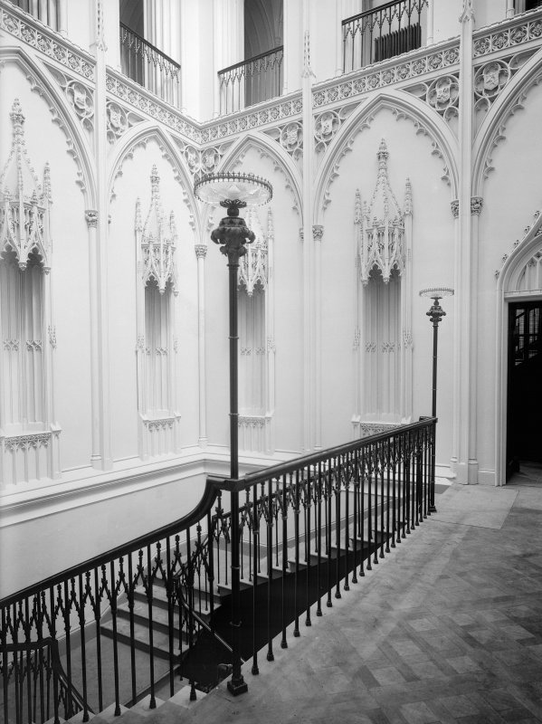 Taymouth Castle, interior. View of main staircase.