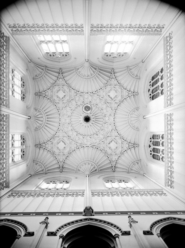 Taymouth Castle, interior. View looking up into the roof of the main stair.