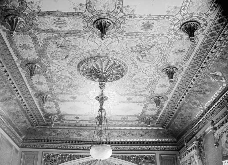Taymouth Castle, interior. View looking of ceiling in drawing room.