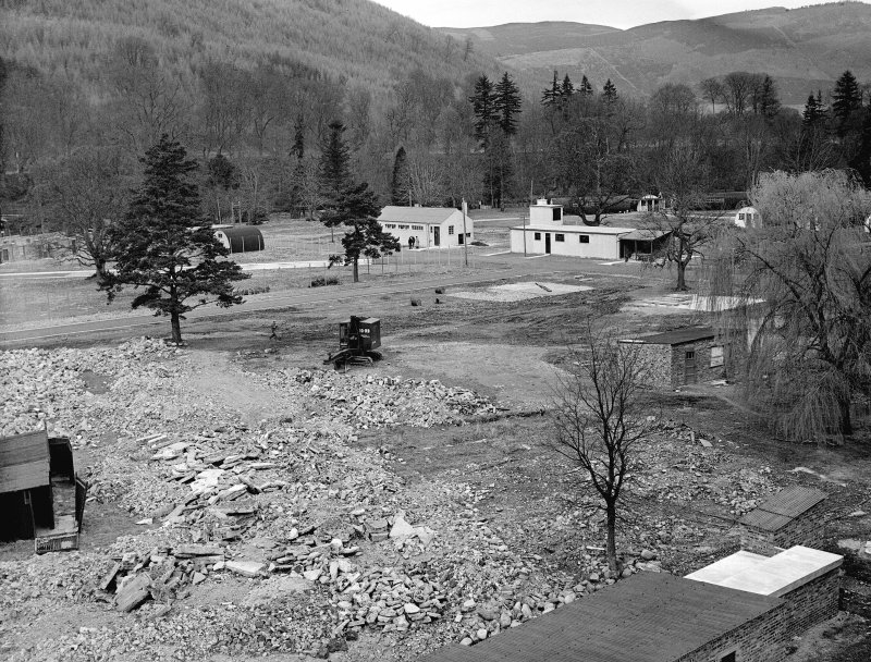 Taymouth Castle, Military Camp. View of training area - looking North-East from rescue tower showing, demonstration theatre on the left and the Cleansing Station to the right.