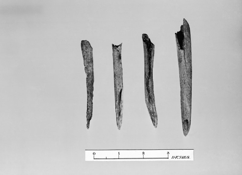 View of artefacts found during 1953 excavation of Clickhimin broch.