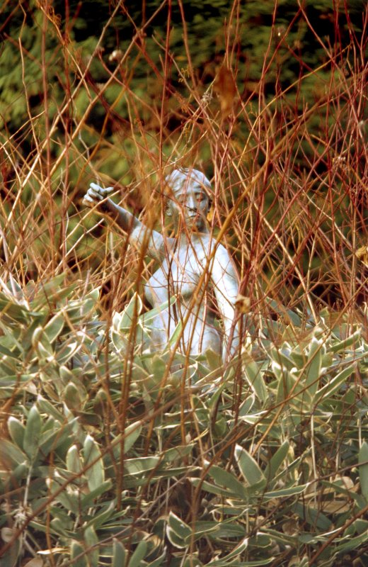 View of statue of Diane, in centre of pond in grounds of Lauriston Castle.