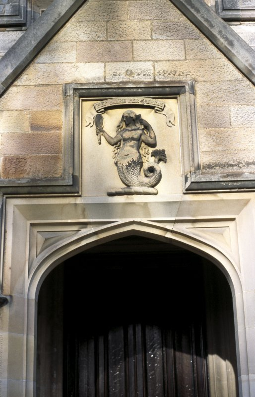 View of carved Rutherford coat of arms, above front door of Lauriston Castle.