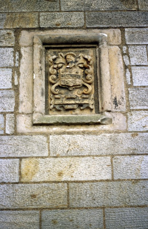 View of carved Crawfurd coat of arms, on N side of Lauriston Castle.