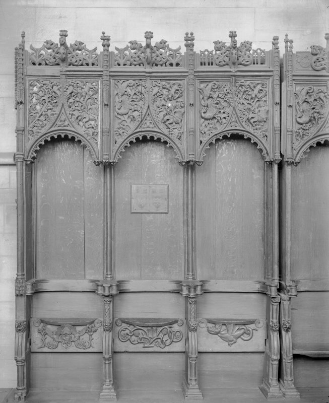 Interior. Choir, detail of stalls.