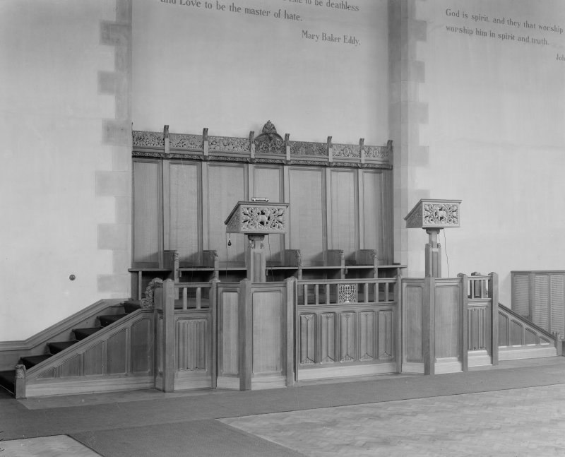 Edinburgh, Inverleith Terrace, First Church of Christ Scientist, interior. View of pulpit.