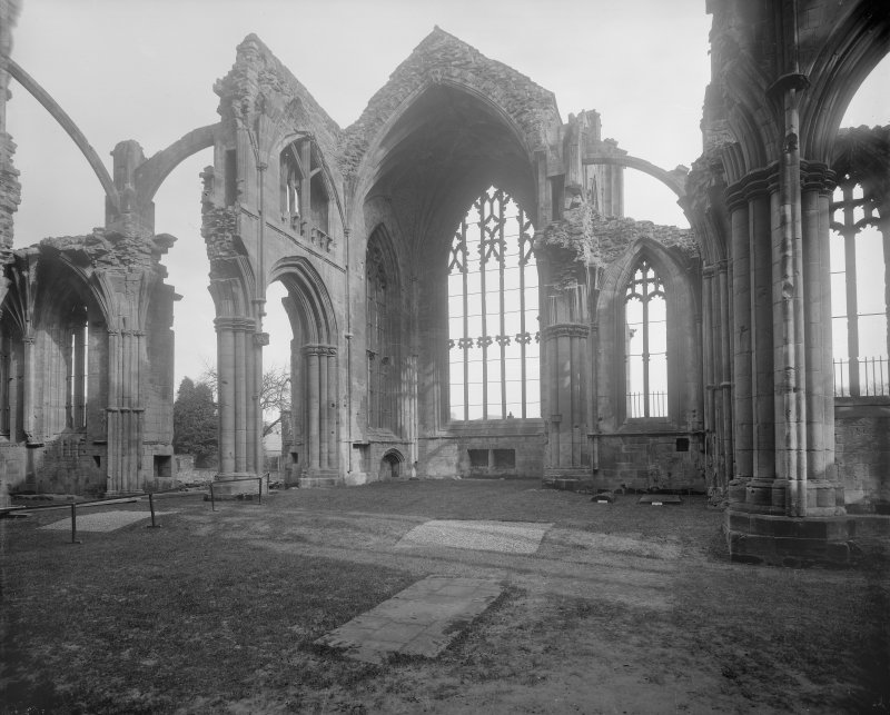 Interior, Melrose Abbey. View of N transept.