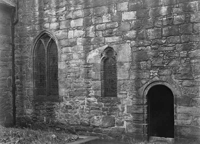 South Queensferry, Carmelite Friary Church. View of choir doorway and windows on the South front.
