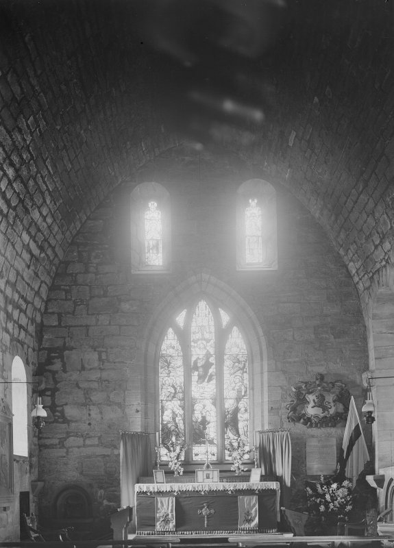 South Queensferry, Carmelite Friary Church. View of interior of chancel from West.