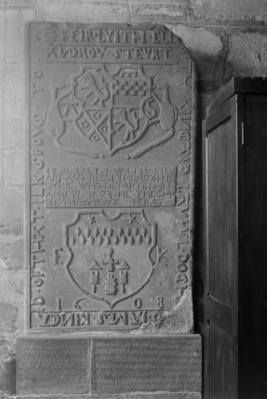 South Queensferry, Carmelite Friary Church. Detail of tombstone on West wall in South chapel.