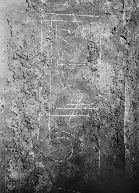 Interior. Detail of drawing on plaster in wall of S transept.