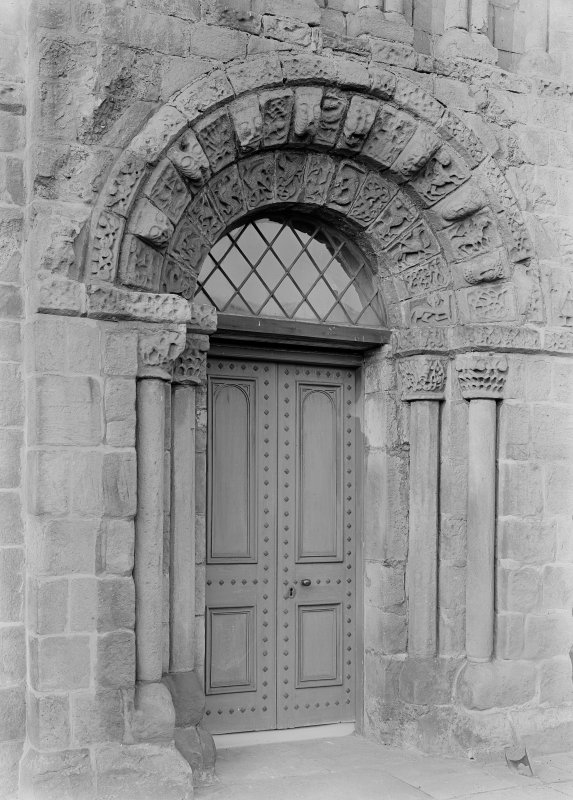 Detail of South entrance, Dalmeny Parish Church.