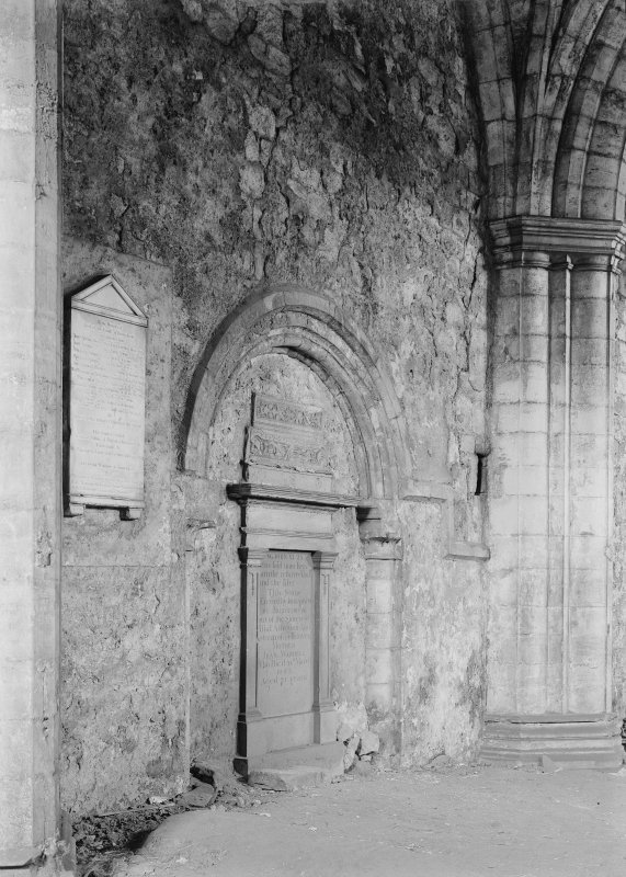 Interior. View of N transept wall.