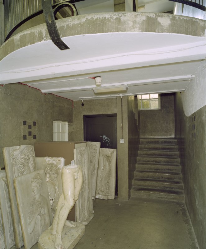 Interior.  Basement, E staircase, view from N