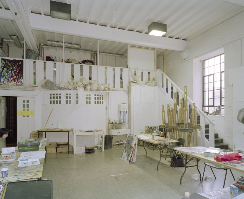 Interior.  Basement, NW studio with mezzanine, view from N