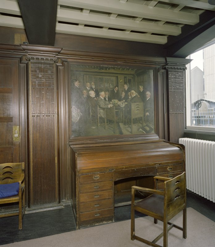 Interior.  Ground floor, board-room, view of bureau with painting of board-room above