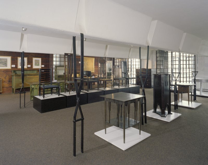 Interior of Glasgow School of Art.  2nd floor, furniture museum, view from NE