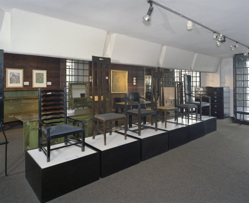 Interior.  2nd floor, furniture museum, view from NE