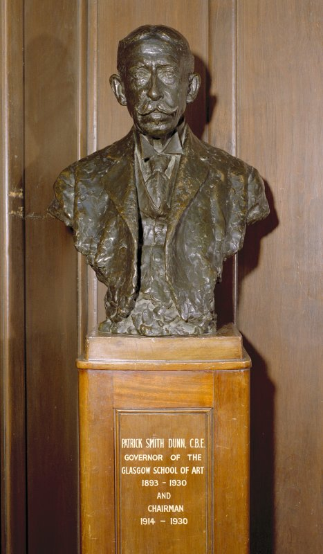 Interior.  Main staircase, detail of bust of Patrick Smith Dunn C.B.E.
