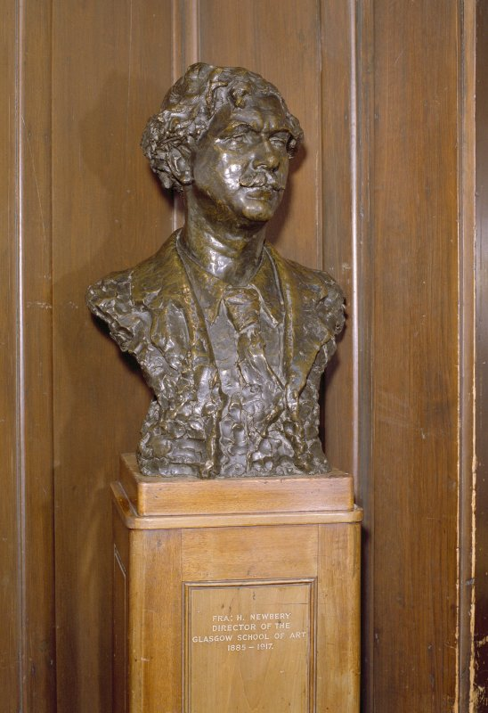 Interior.  Main staircase, detail of bust of H. Newberry F.R.A.