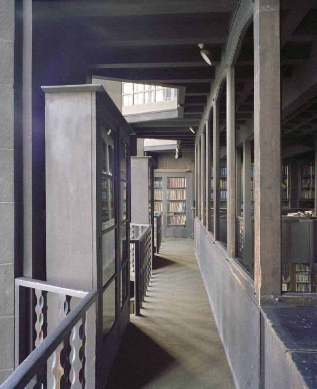Interior.  1st floor, library, balcony, view from S