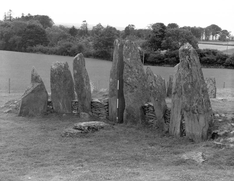 Henshall A S 1972 The Chambered Tombs of Scotland (Edinburgh) 2, Pl 10 'Cairnholy I (KRK 2), the facade after excavation (the closing stone now laid flat in the forecourt), from the NE'
