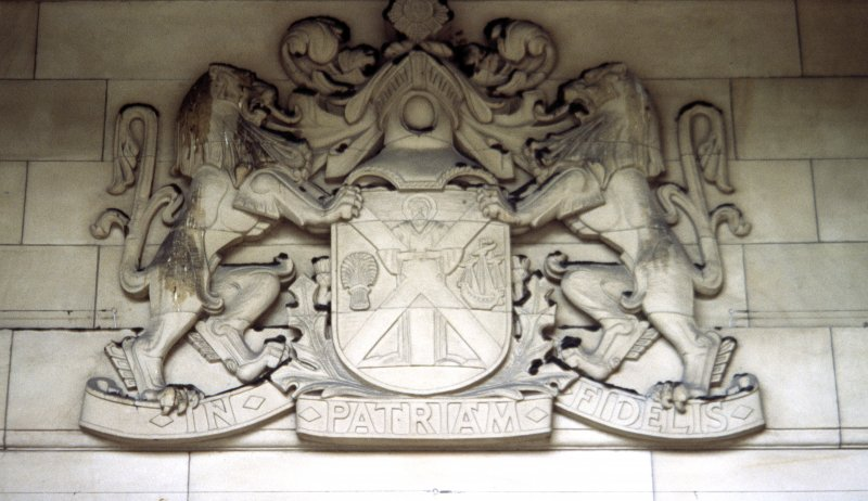 View of coat of arms of the National Bank of Scotland, above entrance to 42 St Andrew Square.