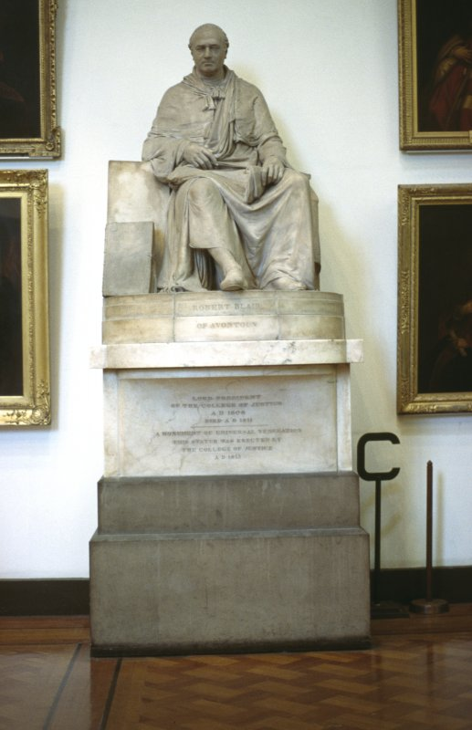 View of statue of Robert Blair of Avontoun, in Parliament Hall.