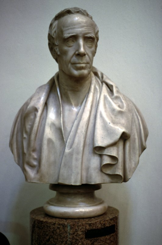View of bust of Thomas Thomson, in Parliament Hall. (Placed on pedestal incorrectly labelled Lord Jeffrey.)